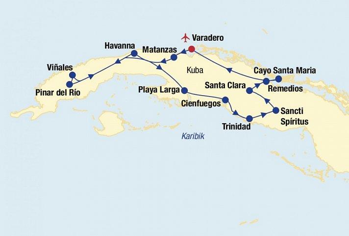 Karte Kuba Varadero.Kuba Rundreise Baden Varadero Matanzas Havanna Pinar Del