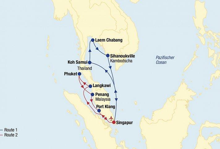 Asien Kreuzfahrt (Route 1 & 2 ab Singapur) » AsienClevertours